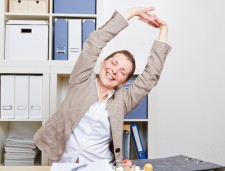 office stretch arms up