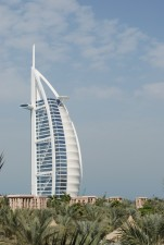 Burj Al Arab, the third tallest hotel in the world. It is on an artificial island.